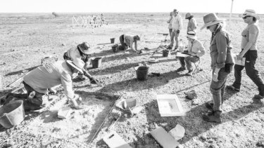 Archaeologists and students excavating at the Native Mounted Police camp at Burke River in south-west Queensland.