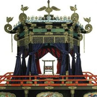 The throne that has been brought up from Kyoto for October's ceremony.