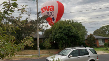One of the balloons just before it landed in Terrara Park.