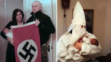 Claudia Patatas and Adam Thomas pose with their son, whose middle name is Adolf. Both were convicted of being members of a banned neo-Nazi group.
