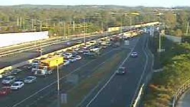 The view on a north-facing traffic camera on the M1 at Daisy Hill, very close to the crash scene, just after 7am.