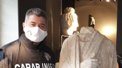 Stolen Roman statue found in Belgian shop by off-duty Italian art police