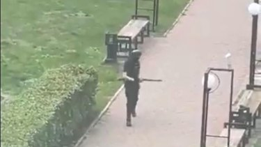 Image from video reportedly shot by someone inside the nuniversity in Perm, Russia.