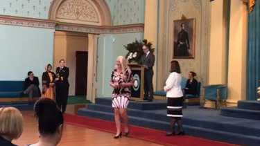 Nicola Gobbo receives the Premier's Volunteer Champions leadership award in September last year.