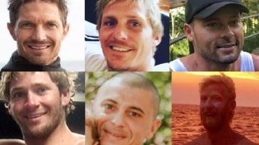 The six fishermen who were on the trawler Dianne (left to right). Top: Ben Leahy, Adam Hoffman and Eli Tonks. Bottom: Zachary Feeney, Chris Sammut and Adam Bidner.