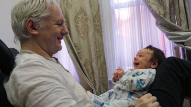 WikiLeaks founder Julian Assange with Gabriel, the first of the two children that he was said to have fathered while in the embassy.