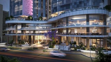 W Hotel and dining establishments at the $1 billion mixed-use Brisbane Quarter project.