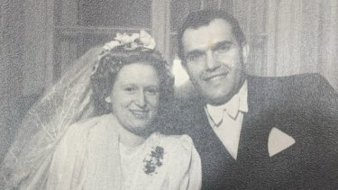 Anita and Harry Shafar on their wedding day in Vienna.