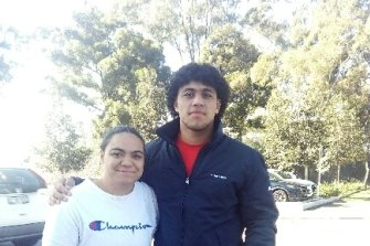 Davvy Moale, with his sister, fellow South Sydney player Moniqua.