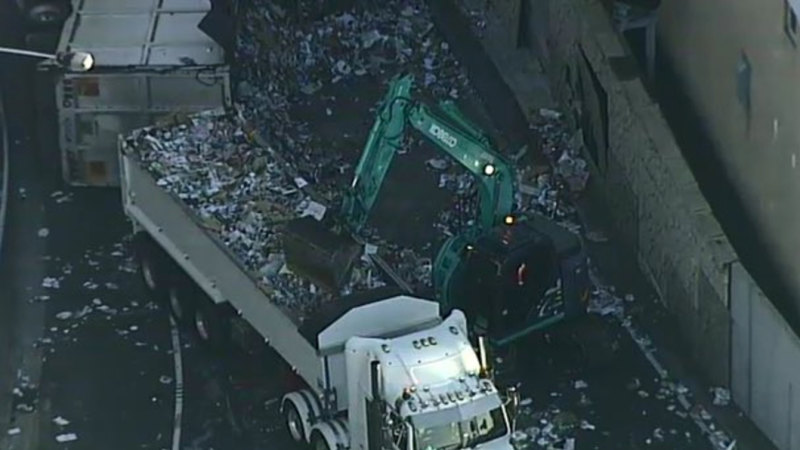 M5 traffic: Substance found in cabin of truck that flipped
