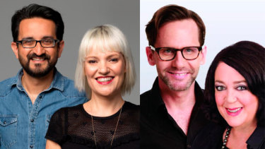 ABC Melbourne breakfast hosts Sami Shah (left) and Jacinta Parsons; ABC Sydney breakfast hosts Robbie Buck and Wendy Harmer.