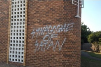 Graffiti outside a Brisbane synogogue in September 2019.