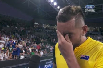 An emotional Nick Kyrgios speaking about Canberra's air quality.
