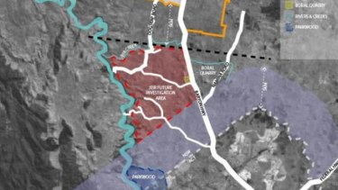 """The Yass council's five-kilometre buffer zone north of the ACT's border where development would be frozen for 20 years, in purple, with the exemption carved out for Ginninderry at bottom left. The proposed """"Jeir"""" development area in red has been abandoned."""