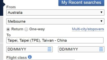 The flight menu on the British Airways website complies with Chinese rules on how to refer to Taiwan.