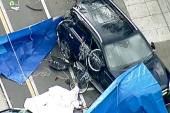 The aftermath of the fatal crash.