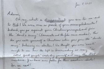Letter to Representative Adam Kinzinger, denouncing him for voting to impeach Donald Trump.