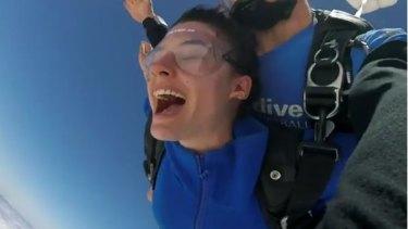 Aiia Maasarwe enjoyed sky-diving over the Great Ocean Road in December.