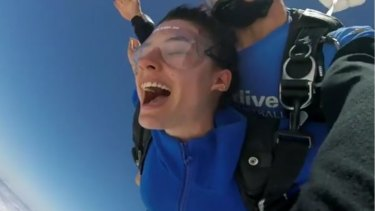 Aiia Maasarwe enjoyed sky-diving over the Great Ocean Road in December.