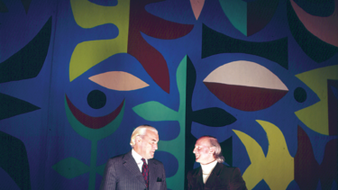 NSW Public Works Minister Davis Hughes and artist John Coburn in front of the Curtain of the Moon in 1972.