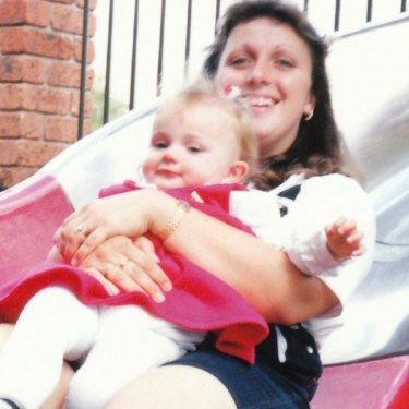 Courtney as a one-year-old with her mother, Leesa.