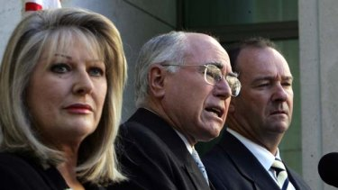 Helen Coonan in her parliamentary days alongside John Howard and Mark Vaile.