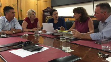 Premier Annastacia Palaszczuk meets with Townsville Mayor Jenny Hill.