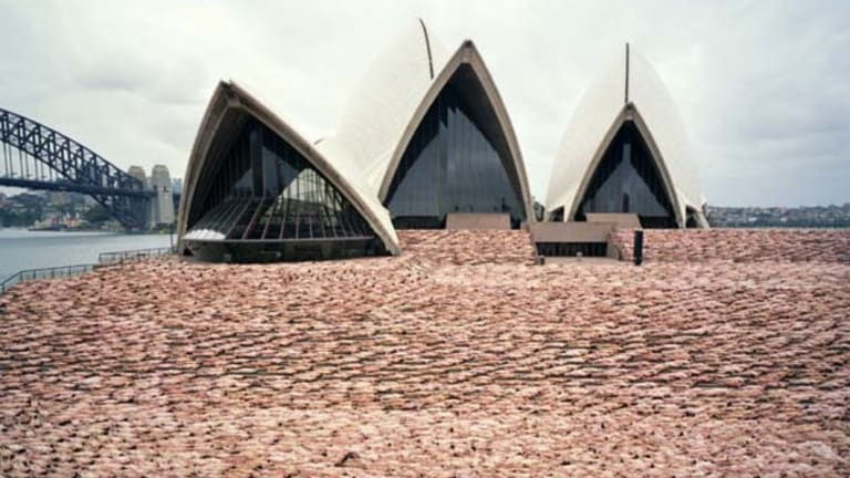 Some 5000 people naked on the steps of the Opera House in 2010.