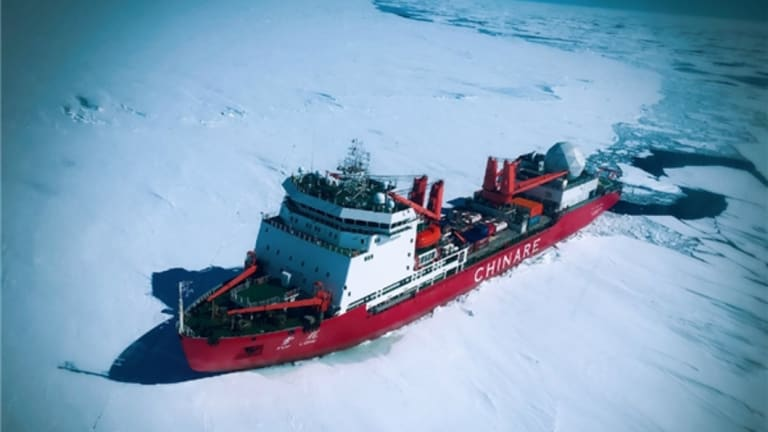 The Chinese research vessel and icebreaker Xuelong (Snow Dragon) in the Antarctic in December 2016.