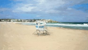 Bondi beach empty during the COVID-19 pandemic