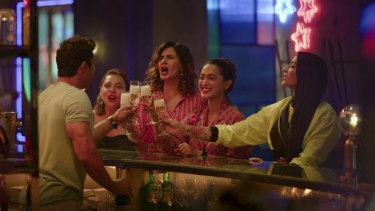 """From left, Gagroo, Kulhari, Gupta and Bani J in a scene from """"Four More Shots Please!"""""""