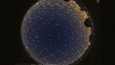 A simulation showing the position (not appearance) of Starlink satellites in the night sky.