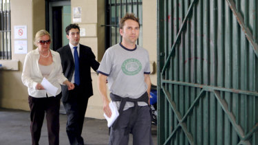 Richard Buttrose leaving Central Local Court after he was arrested in 2009.