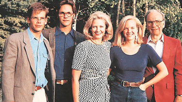 The second Murdoch family, from left: Lachlan, James, Anna, Elisabeth and Rupert.