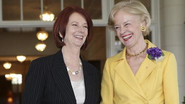 Then PM Julia Gillard with Governor-General Quentin Bryce at Government House after being sworn in as Australia's first female Prime Minister.