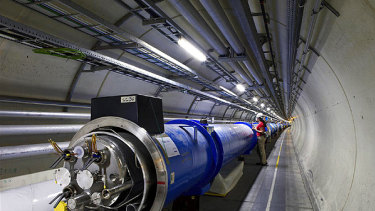 The tunnel in the Large Hadron Collider at CERN near Geneva.