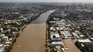 The flood peaks in Brisbane on January 13, 2011.