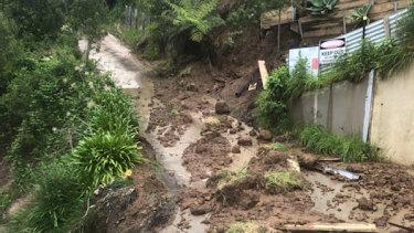 The Separation Creek landslide on Thursday.