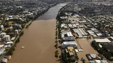 The flood peaks in Brisbane on January 13, 2011.