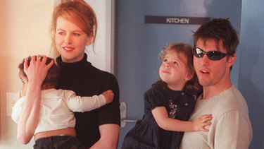 Nicole Kidman and Tom Cruise with their children in Sydney.