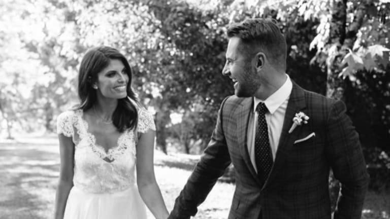 Zoe Ventoura and Daniel MacPherson on their wedding day.
