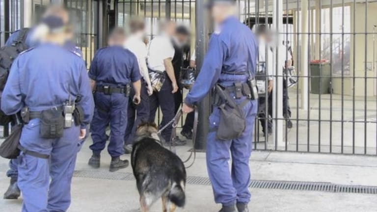 Corrective Services officers search for contraband at Parklea prison.