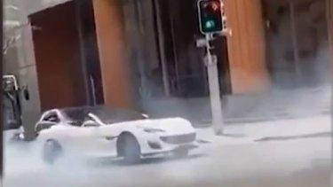 The ferrari doing the burnouts in Sydney's CBD.