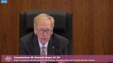 "Commissioner Kenneth Hayne: ""We will adjourn."""