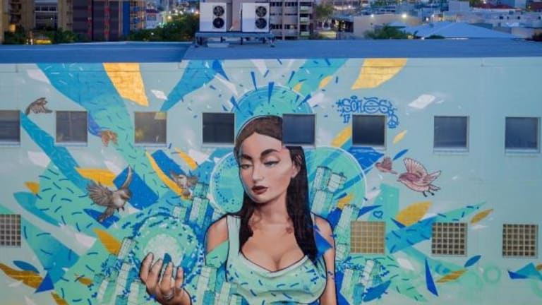 Previous work created by Brisbane street artist Russell Fenn, also known as Sofles.