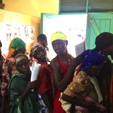 Women queue for gynaecological surgery in Uganda.