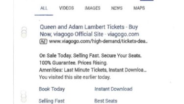 """A Viagogo ad on Google from June 21 2017, in which it claims to be the """"official site"""" for Queen and Adam Lambert tickets."""