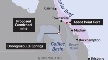 Adani's proposed Carmichael coal mine showing the location of the ancient Doongmabulla Springs.