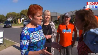 One Nation leader Pauline Hanson and Labor MP Anne Aly bumped into each other on the campaign trail on Monday.