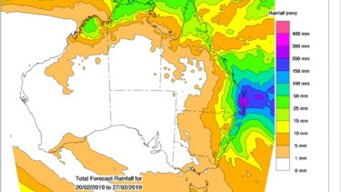 The eight-day rainfall forecast for the country shows the large falls expected to be dumped by TC Oma.